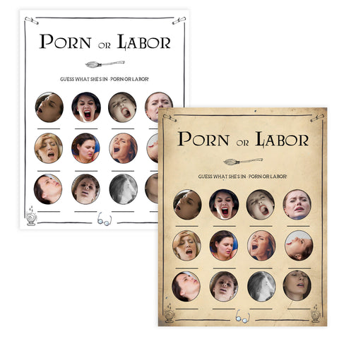 Porn or Labor Game, Labor or Porn, Wizard baby shower games, printable baby shower games, Harry Potter baby games, Harry Potter baby shower, fun baby shower games,  fun baby ideas