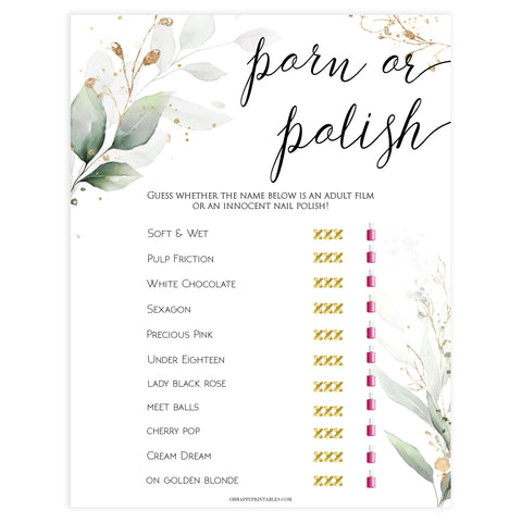 porn or polish game, Printable bridal shower games, greenery bridal shower, gold leaf bridal shower games, fun bridal shower games, bridal shower game ideas, greenery bridal shower