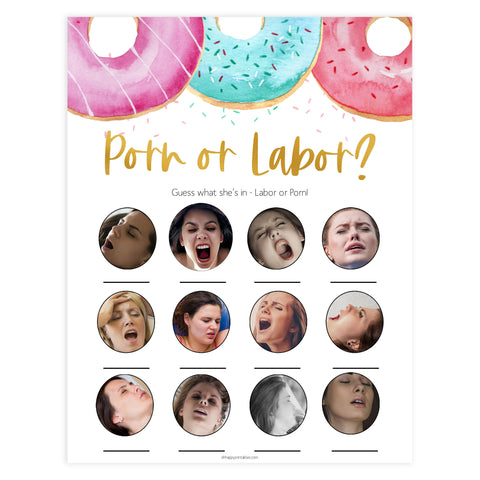 porn or labor baby game, labor baby game, Printable baby shower games, donut baby games, baby shower games, fun baby shower ideas, top baby shower ideas, donut sprinkles baby shower, baby shower games, fun donut baby shower ideas