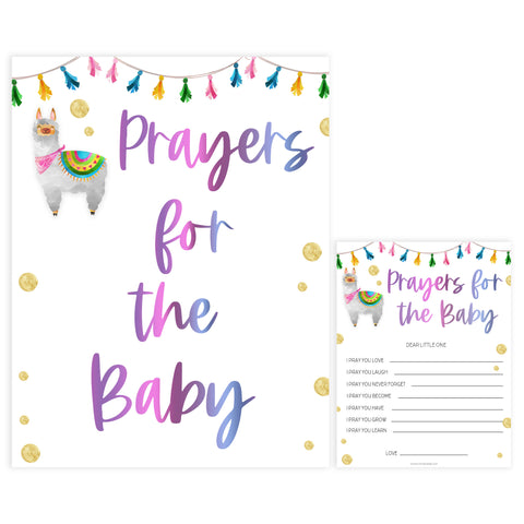 prayers for the baby, baby prayers keepsake, Printable baby shower games, llama fiesta fun baby games, baby shower games, fun baby shower ideas, top baby shower ideas, Llama fiesta shower baby shower, fiesta baby shower ideas