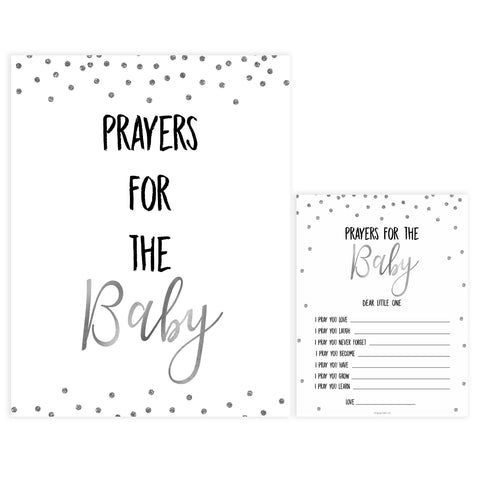 prayers for the baby game, Printable baby shower games, baby silver glitter fun baby games, baby shower games, fun baby shower ideas, top baby shower ideas, silver glitter shower baby shower, friends baby shower ideas