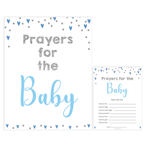 prayers for the baby, baby keepsake, Printable baby shower games, small blue hearts fun baby games, baby shower games, fun baby shower ideas, top baby shower ideas, silver baby shower, blue hearts baby shower ideas