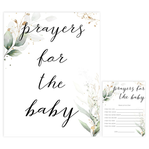 Gold green leaf baby games, prayers for the baby, printable baby games, fun baby games, top baby games to play, gold leaf baby shower, greenery baby shower ideas