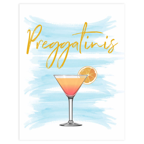 Preggatinis baby signs, blue swash baby sign, printable baby signs, fun baby shower decor ideas