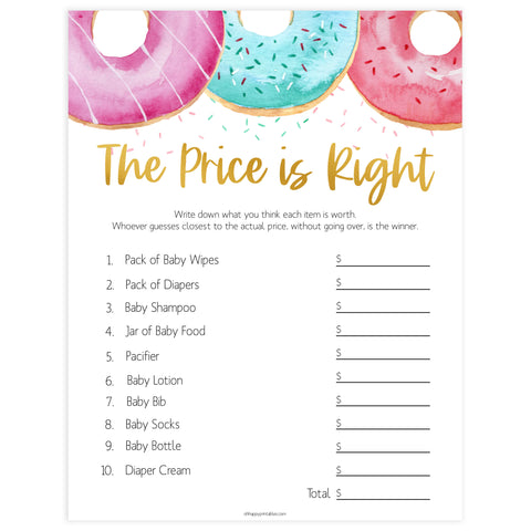 editable baby shower games, the price is right baby game, Printable baby shower games, donut baby games, baby shower games, fun baby shower ideas, top baby shower ideas, donut sprinkles baby shower, baby shower games, fun donut baby shower ideas