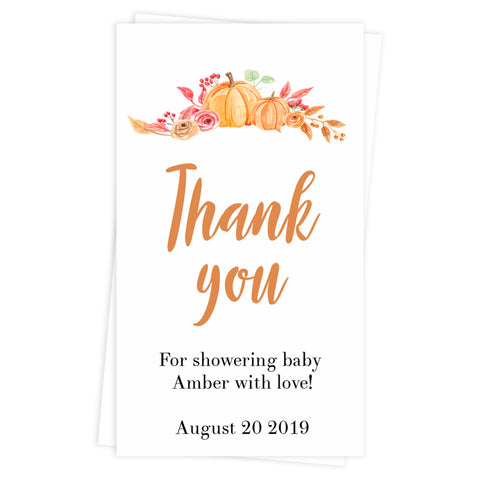 baby shower thank you tags, printable baby thank you tags, editable baby thank you tags, pumpkin baby shower tags, pumpkin baby shower decor