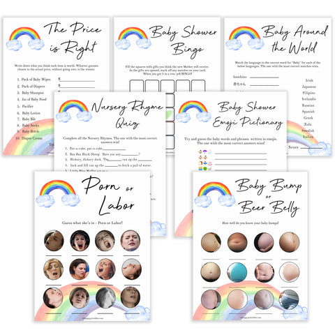 Rainbow baby games, rainbow baby games pack, rainbow baby games bundle rainbow printable baby games, instant download games, rainbow baby shower, printable baby games, fun baby games, popular baby games, top 10 baby games