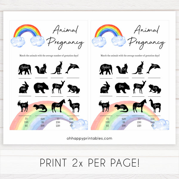 Rainbow baby games, rainbow animal pregnancy, rainbow printable baby games, instant download games, rainbow baby shower, printable baby games, fun baby games, popular baby games, top 10 baby games