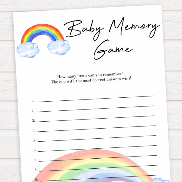 Rainbow baby games, rainbow baby memory, rainbow printable baby games, instant download games, rainbow baby shower, printable baby games, fun baby games, popular baby games, top 10 baby games
