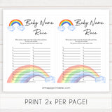 Rainbow baby games, rainbow baby name race, rainbow printable baby games, instant download games, rainbow baby shower, printable baby games, fun baby games, popular baby games, top 10 baby games