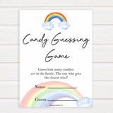 Rainbow baby games, rainbow candy guessing game, rainbow printable baby games, instant download games, rainbow baby shower, printable baby games, fun baby games, popular baby games, top 10 baby games