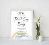 Rainbow baby games, rainbow dont say baby, rainbow printable baby games, instant download games, rainbow baby shower, printable baby games, fun baby games, popular baby games, top 10 baby games