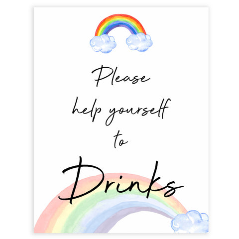 rainbow baby shower, drinks baby shower sign, printable baby signs, baby signs, top 10 baby ideas, popular baby ideas