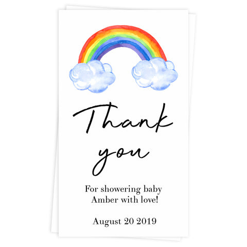 rainbow baby thank you tags, printable baby thank you tags, editable baby thank you tags, rainbow baby decor, rainbow baby tags