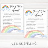 Rainbow baby games, rainbow find the guest, rainbow printable baby games, instant download games, rainbow baby shower, printable baby games, fun baby games, popular baby games, top 10 baby games