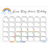 guess the baby birthday game, baby birthday prediction game, printable baby shower games, rainbow baby shower games, rainbow baby decor ideas, baby rainbow