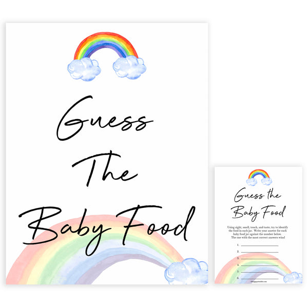 Rainbow baby games, rainbow guess the baby food, rainbow printable baby games, instant download games, rainbow baby shower, printable baby games, fun baby games, popular baby games, top 10 baby games