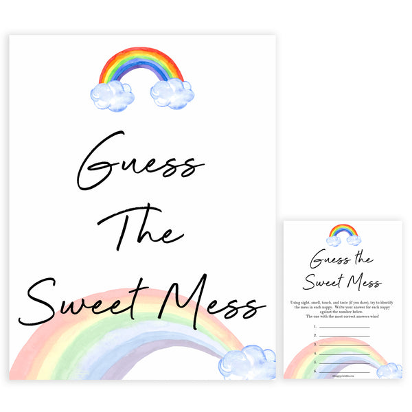 Rainbow baby games, rainbow guess the sweet mess, rainbow printable baby games, instant download games, rainbow baby shower, printable baby games, fun baby games, popular baby games, top 10 baby games