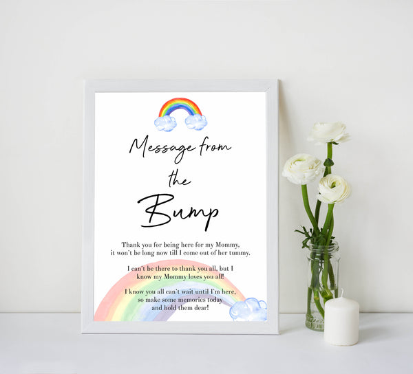Rainbow baby games, rainbow message from the bump, rainbow printable baby games, instant download games, rainbow baby shower, printable baby games, fun baby games, popular baby games, top 10 baby games