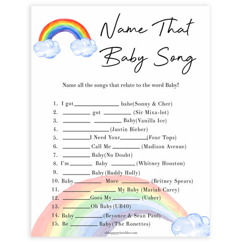Rainbow baby games, rainbow name that baby song, rainbow printable baby games, instant download games, rainbow baby shower, printable baby games, fun baby games, popular baby games, top 10 baby games