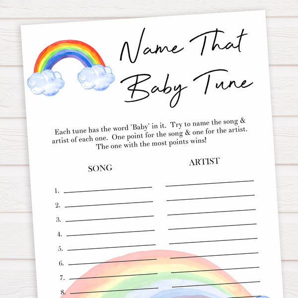 Rainbow baby games, rainbow name that baby tune, rainbow printable baby games, instant download games, rainbow baby shower, printable baby games, fun baby games, popular baby games, top 10 baby games
