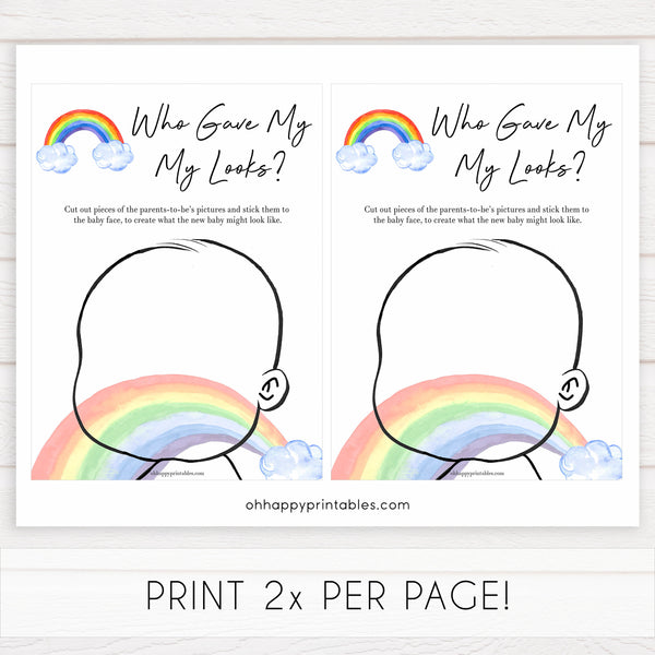 Rainbow baby games, rainbow who gave me my looks, rainbow printable baby games, instant download games, rainbow baby shower, printable baby games, fun baby games, popular baby games, top 10 baby games