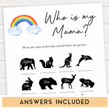 Rainbow baby games, rainbow who is my mama, rainbow printable baby games, instant download games, rainbow baby shower, printable baby games, fun baby games, popular baby games, top 10 baby games