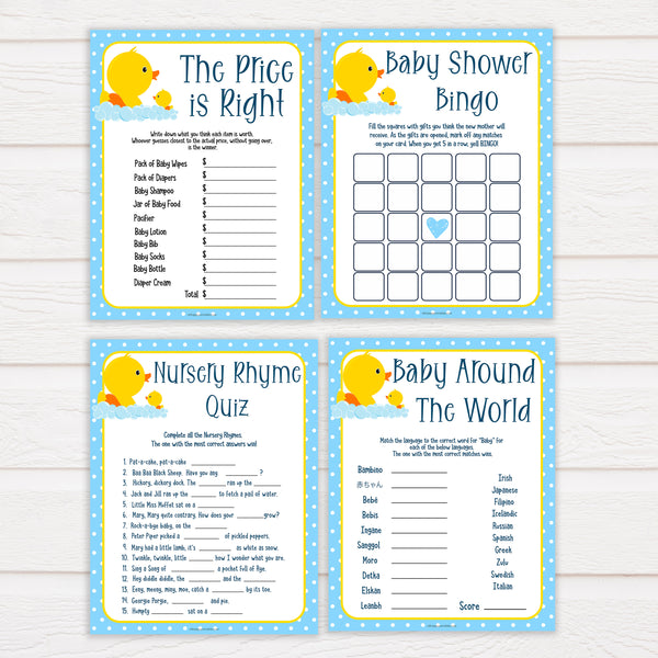rubber ducky baby games, 7 baby shower games bundle, baby shower games pack, baby game, printable baby games, baby shower games, rubber ducky baby theme, fun baby games, popular baby games