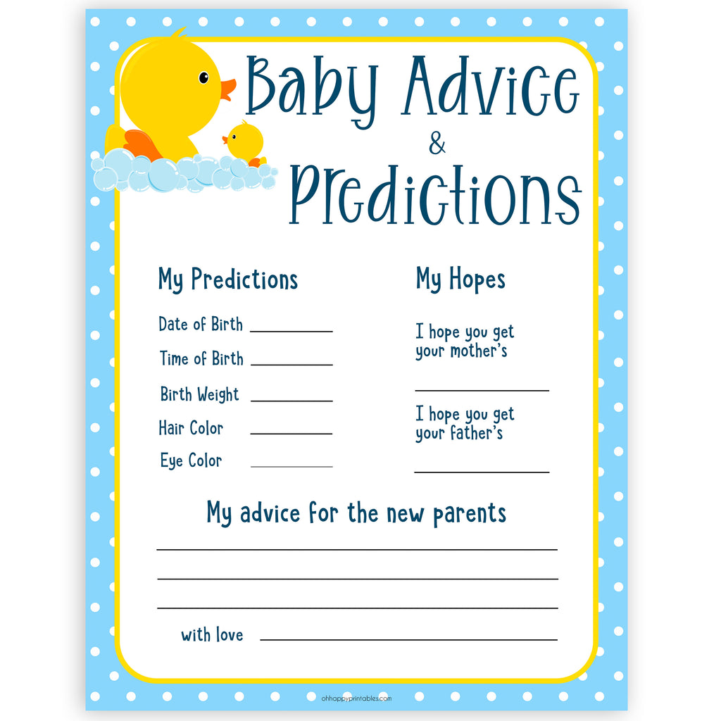 New Baby Advice & Predictions Card - Rubber Ducky Printable Baby