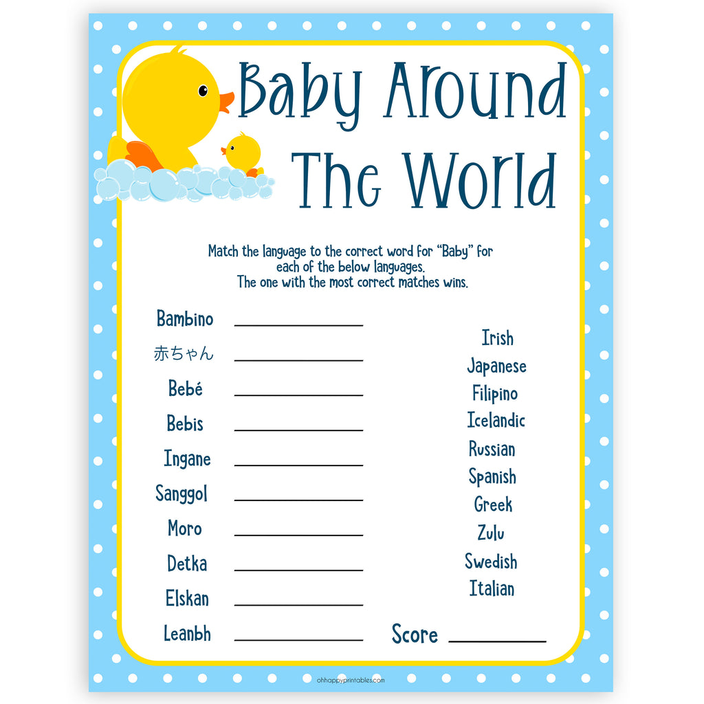 photograph relating to Spanish Baby Shower Games Free Printable referred to as Boy or girl In the vicinity of The Planet Boy or girl Activity - Rubber ducky Printable