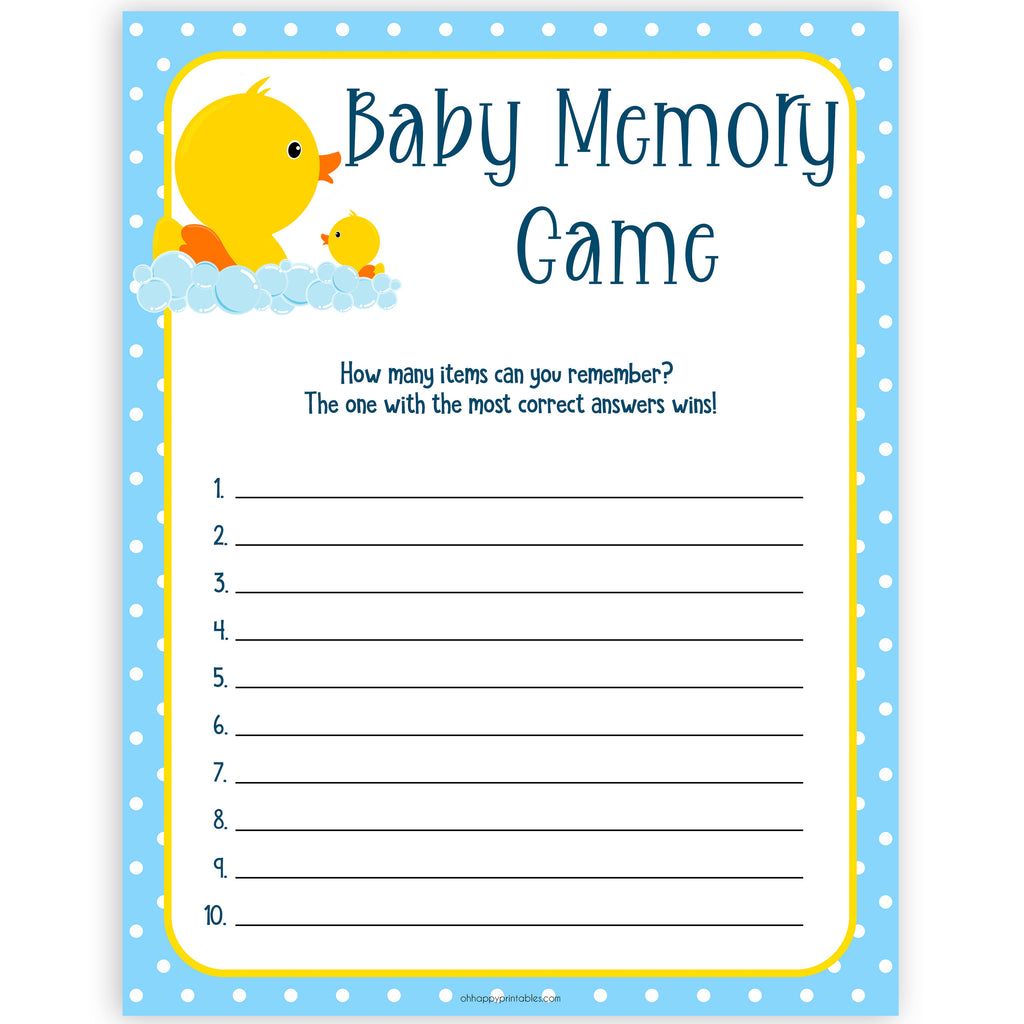 graphic regarding Rubber Ducky Printable named Youngster Memory Activity - Rubber Ducky Printable Youngster Shower Online games