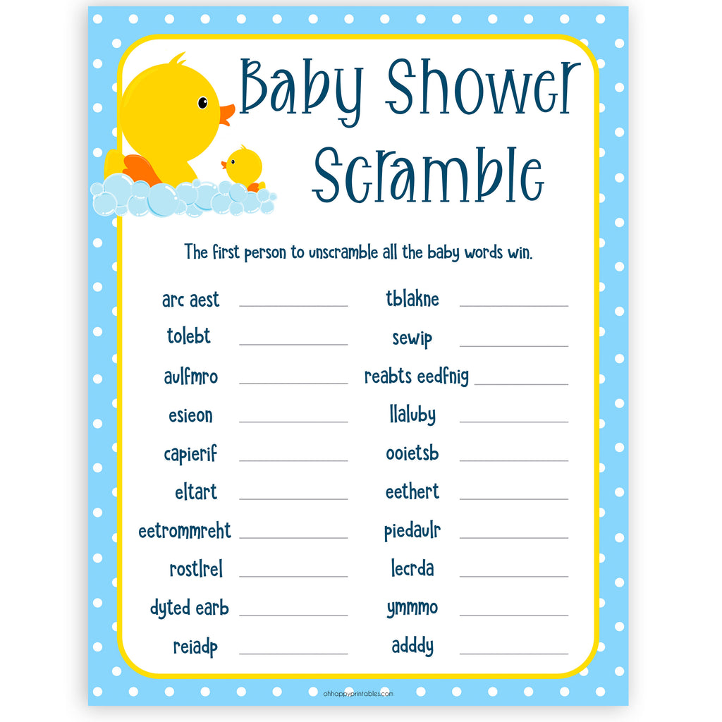 Baby Shower Word Scramble Rubber Ducky Printable Baby
