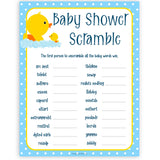 rubber ducky baby games, baby scramble baby game, printable baby games, baby shower games, rubber ducky baby theme, fun baby games, popular baby games