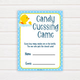 rubber ducky baby games, candy guessing game baby game, printable baby games, baby shower games, rubber ducky baby theme, fun baby games, popular baby games
