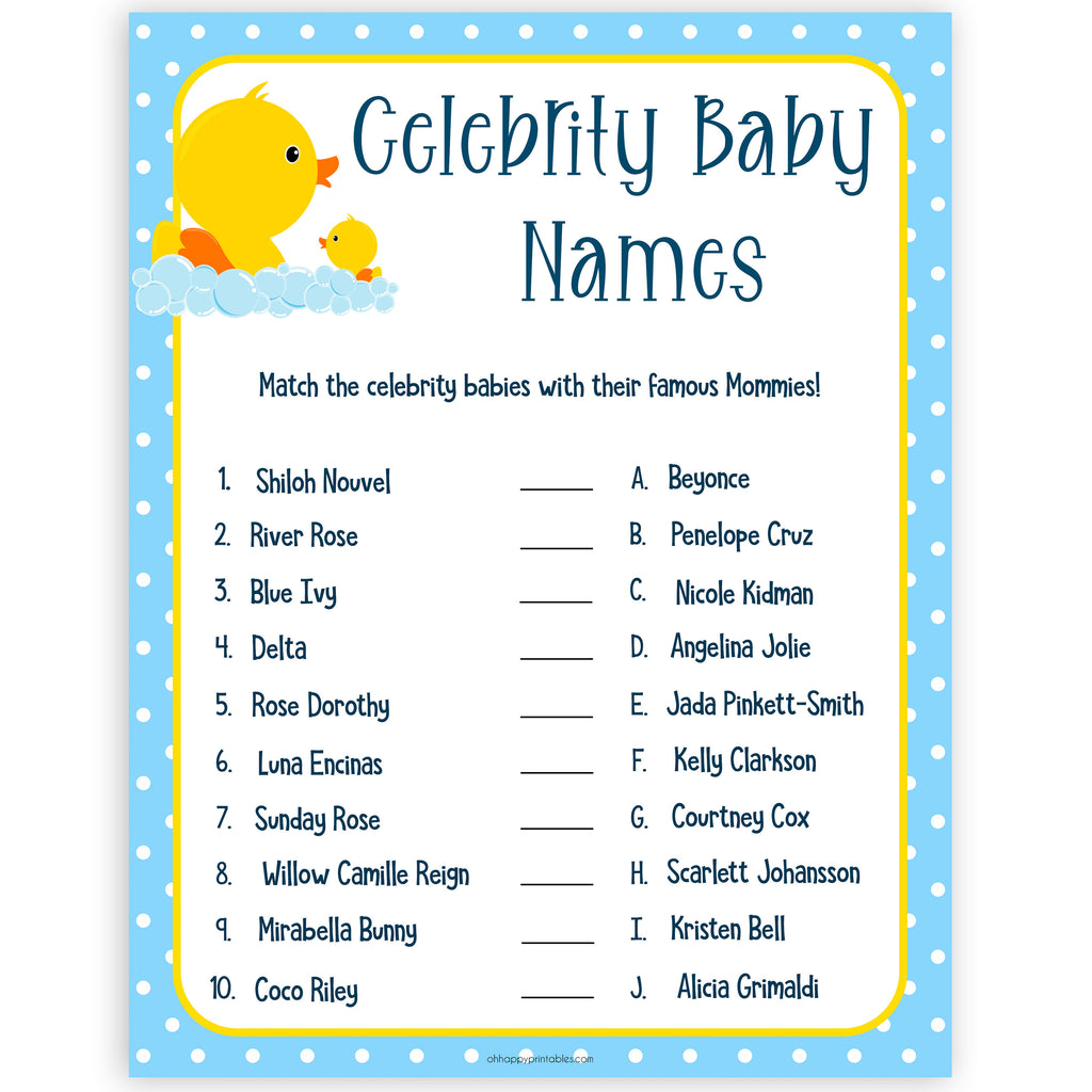 It's just a photo of Celebrity Baby Name Game Printable throughout wonderful
