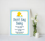 rubber ducky baby games, dont say baby, don't say baby baby game, printable baby games, baby shower games, rubber ducky baby theme, fun baby games, popular baby games