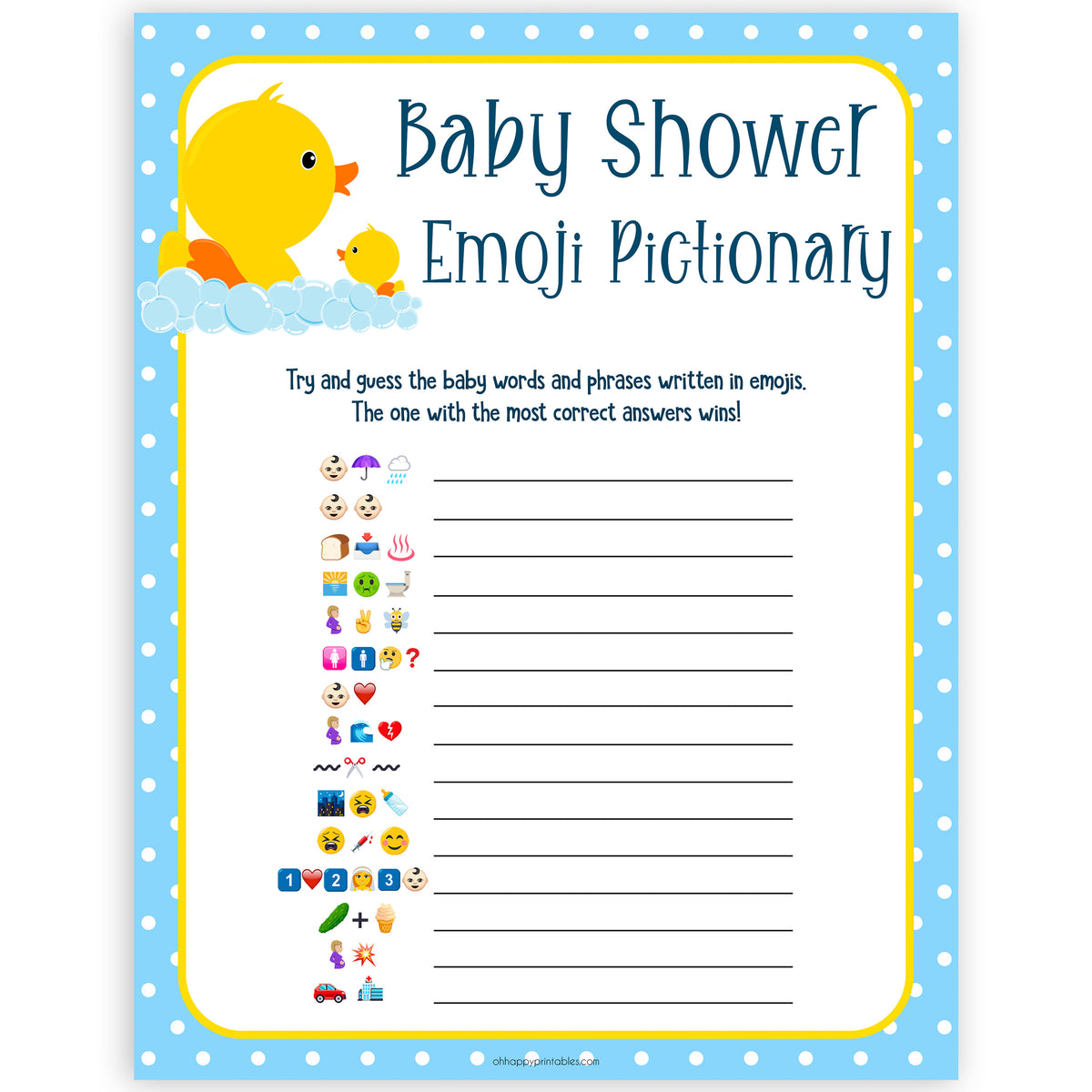 Baby Emoji Pictionary - Printable Rubber Ducky Baby Shower ...