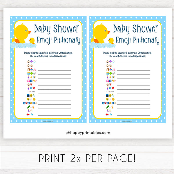 rubber ducky baby games, emoji pictionary baby game, printable baby games, baby shower games, rubber ducky baby theme, fun baby games, popular baby games