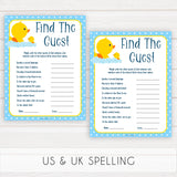 rubber ducky baby games, find the guest baby game, printable baby games, baby shower games, rubber ducky baby theme, fun baby games, popular baby games