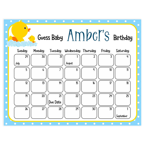 guess the baby birthday game, printable baby birthday game, printable baby games, rubber ducky baby games, baby rubber ducky baby shower