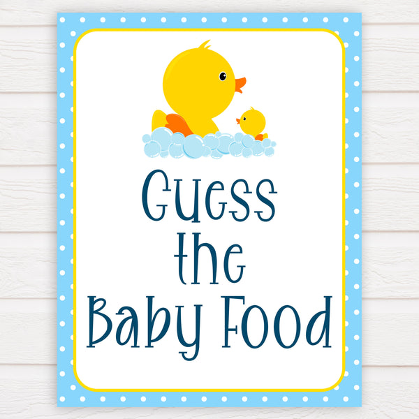 rubber ducky baby games, guess the baby food baby game, printable baby games, baby shower games, rubber ducky baby theme, fun baby games, popular baby games