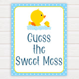 rubber ducky baby games, guess the sweet mess baby game, printable baby games, baby shower games, rubber ducky baby theme, fun baby games, popular baby games