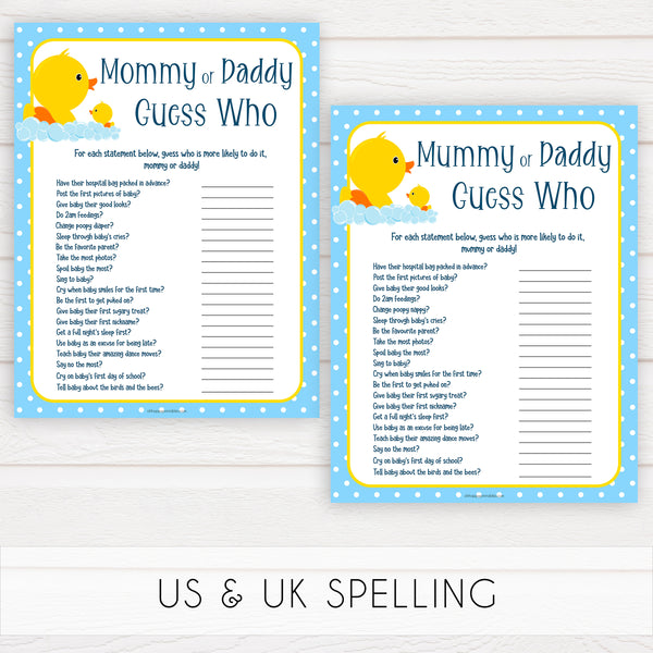 rubber ducky baby games, mommy daddy guess who game, baby game, printable baby games, baby shower games, rubber ducky baby theme, fun baby games, popular baby games