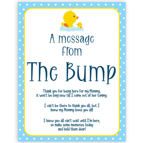 rubber ducky baby games, message from the bump baby game, printable baby games, baby shower games, rubber ducky baby theme, fun baby games, popular baby games