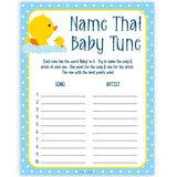 rubber ducky baby games, name that baby tune baby game, printable baby games, baby shower games, rubber ducky baby theme, fun baby games, popular baby games