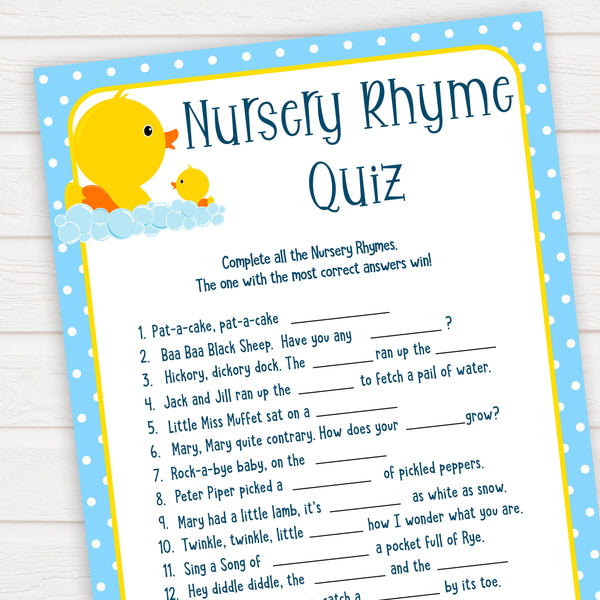 rubber ducky baby games, nursery rhyme quiz baby game, printable baby games, baby shower games, rubber ducky baby theme, fun baby games, popular baby games