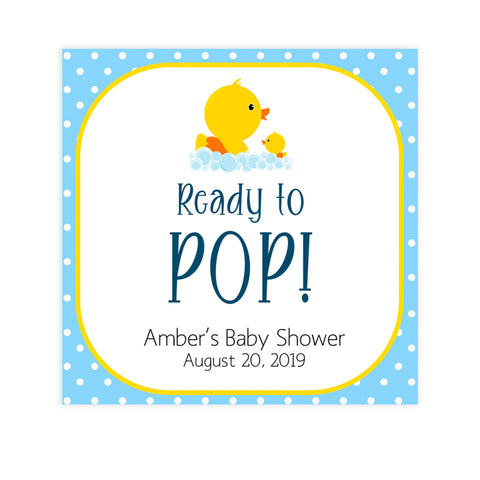 rubber ducky baby shower, ready to pop tags, editable ready to pop tags, printable baby shower tags, fun baby shower ideas
