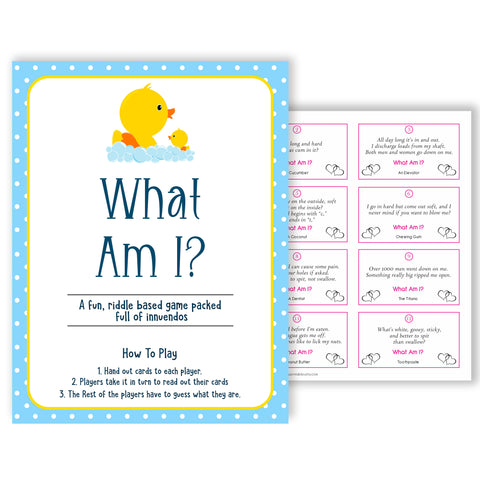 rubber ducky baby games, what am I baby game, printable baby games, baby shower games, rubber ducky baby theme, fun baby games, popular baby games