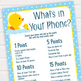 rubber ducky baby games, whats in your phone baby game, printable baby games, baby shower games, rubber ducky baby theme, fun baby games, popular baby games