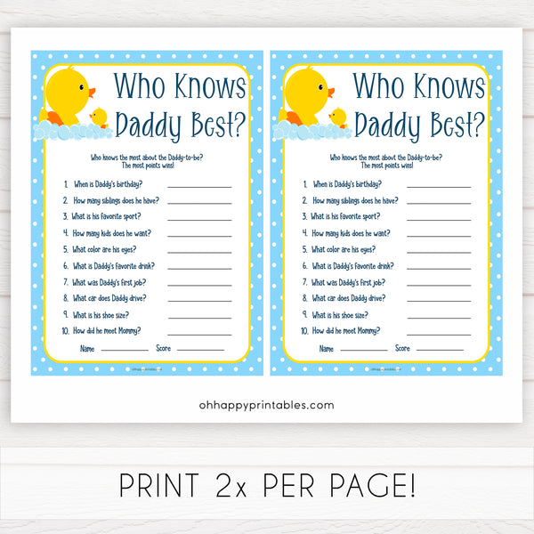 rubber ducky baby games, who knows daddy best baby game, printable baby games, baby shower games, rubber ducky baby theme, fun baby games, popular baby games